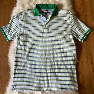 TOMMY HILFIGER GREEN STRIPED POLO SHIRT